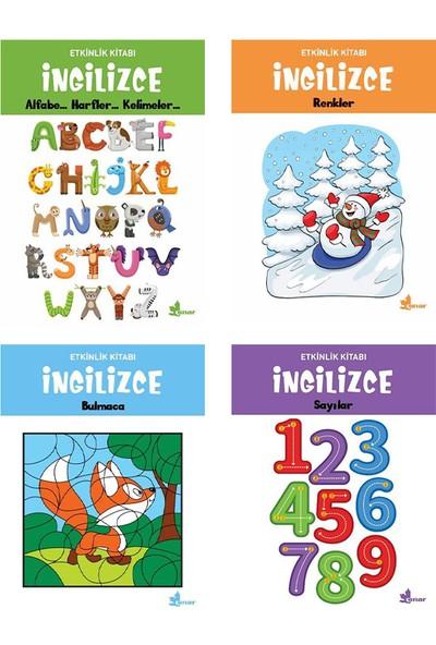 Çınar Yayınları Ingilizce Etkinlik Kitapları 4 Kitap Set( Alfabe, Harfler, Kelimeler - Renkler - Bulmaca - Sayılar)