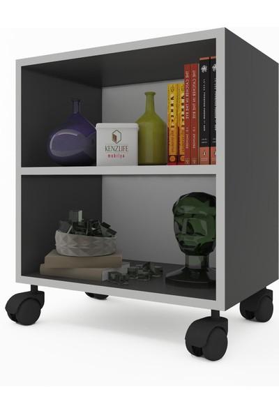 Kenz Life Kitaplık Beril 068 x 030 x 020 Gri Tekerlekli Mutfak Dolabı Banyo Ofis Ayakkabılık Kiler