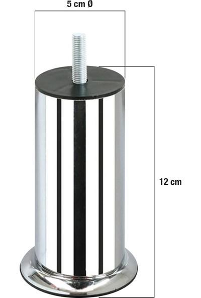 Yılmaz Sünger Vidalı Bombeli Metal Baza-Kanepe-Koltuk Krom Ayak 12 cm (4 Adet)
