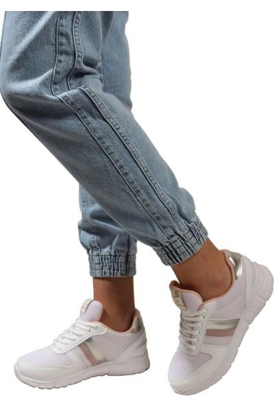 Derigo Beyaz Gül Kurusu Kadın Spor Ayakkabı 703207
