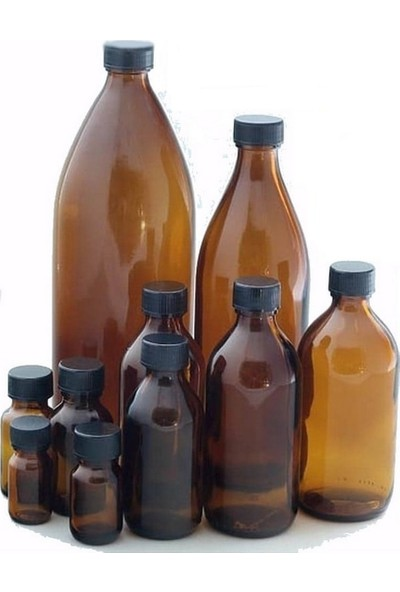 Suvar Kimya Kapaklı Cam Şişe 100 cc ml Kahverengi (24 Adet)