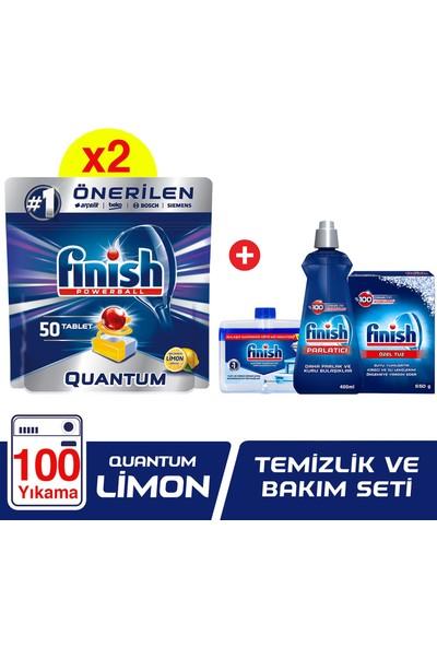 Finish Quantum 100 Tablet Bulaşık Makinesi Deterjanı Limon (50x2) + Finish Temizlik ve Bakım Seti