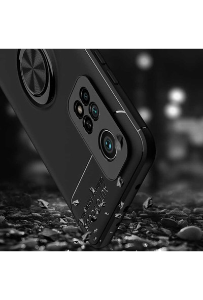 Fibaks Xiaomi Mi 10T Pro 5G Kılıf Manyetik Yüzüklü Standlı Autofocus Shockproof Yumuşak Silikon Ravel Siyah