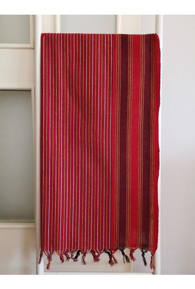 Melis Home Peştemal Banyo Havlusu Spa Sauna ve Plaj Havlusu %100 Pamuk 80x170 Çizgili Kırmızı