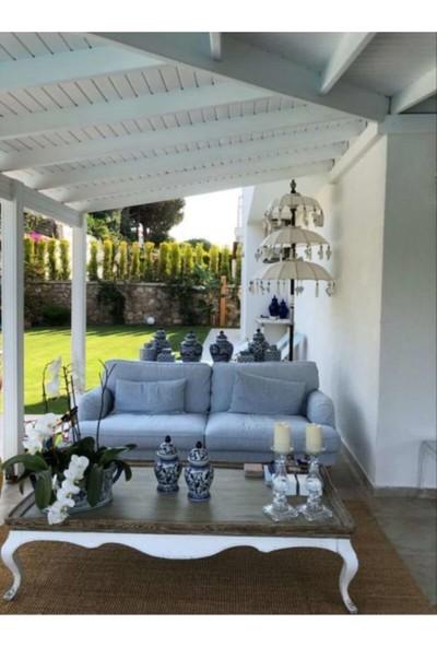 Prodiva Bali 3 Katlı Bahçe Şemsiyesi - Ahşap Ayaklı Pamuklu Kumaş Dekoratif El Yapımı Beyaz