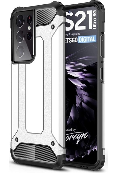 Smcase Samsung Galaxy S21 Ultra 5G Kılıf Crash Tank Koruma + Full Ekran Koruyucu Nano Gümüş