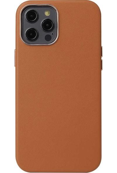 Smcase Apple iPhone 12 Pro Kılıf Eyzi Deri Silikon Lüx Tam Kahverengi