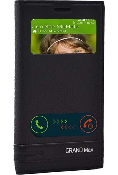 Smcase Samsung Galaxy Grand Max Kılıf Elite Pencereli Kılıf Siyah