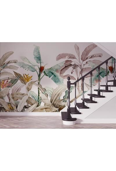 Özen Duvar Kağıdı Tropikal Renkli Yapraklar Ağaçlar Duvar Kağıdı