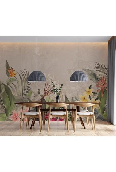 Özen Duvar Kağıdı Tropikal Renkli Yaprak ve Çiçekler Özel Tasarım Duvar Kağıdı