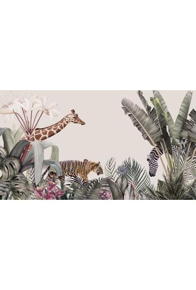 Özen Duvar Kağıdı Renkli Tropikal Yapraklar ve Hayvanlar Duvar Kağıdı