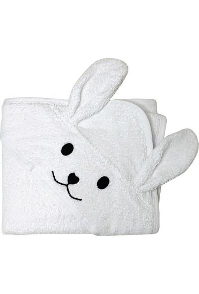 Miniyoki Smiley Bunny Beyaz Tavşan Kulaklı Kapüşonlu Bebek Banyo Havlusu