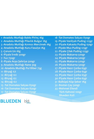 Blueden Ramazan Paketi Kumanya Ezrak Gıda Yardım Kolisi 33 Parça 30 nolu Paket