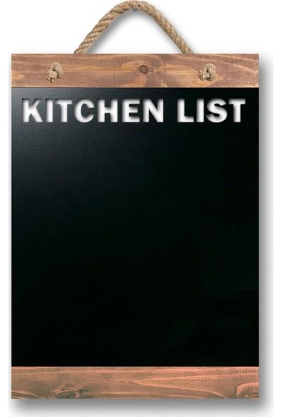 ZepHome Dekoratif Yazı Tahtası Kitchen List Halat Askılı Kara Tahta Ceviz