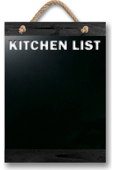 ZepHome Dekoratif Yazı Tahtası Kitchen List Halat Askılı Kara Tahta Siyah