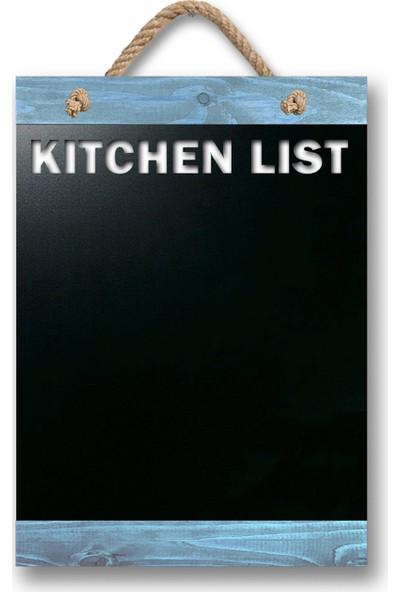 ZepHome Dekoratif Yazı Tahtası Kitchen List Halat Askılı Kara Tahta Alaçata Mavi