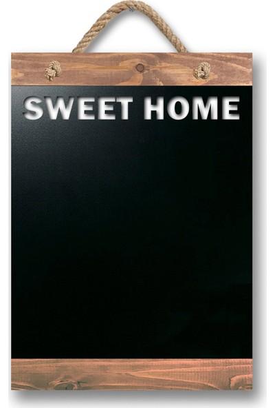 ZepHome Dekoratif Yazı Tahtası Sweet Home Halat Askılı Kara Tahta Ceviz