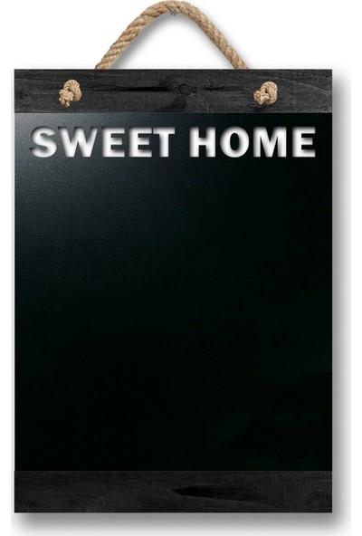 ZepHome Dekoratif Yazı Tahtası Sweet Home Halat Askılı Kara Tahta Siyah