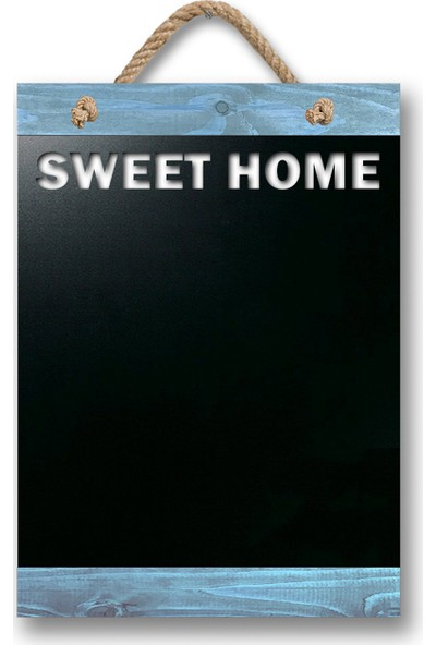 ZepHome Dekoratif Yazı Tahtası Sweet Home Halat Askılı Kara Tahta Alaçatı Mavi