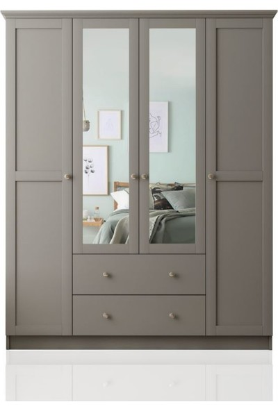 Zenio Side 4 Kapak 2 Çekmece Aynalı Gardırop