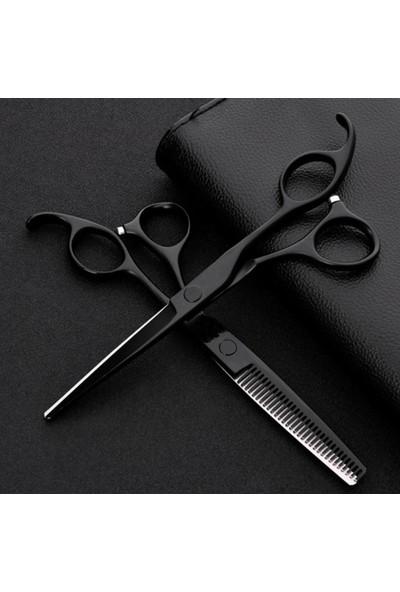 Kivi Ticaret 2 Parça 6 Inç 17 Cm Deri Çantalı Kuaför Berber Metalik Siyah Saç Makas Seti Düz ve Ara Makas