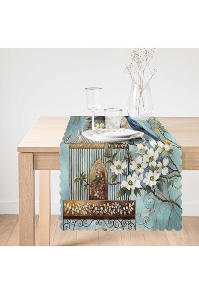 Mavi Kuş Desen Dijital Baskılı Dekoratif Runner