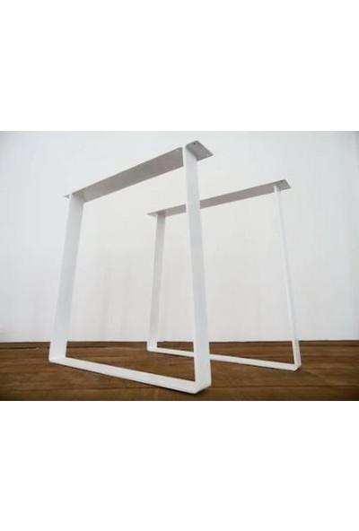 Abronya Yemek Masası Metal Masa Ayakları Çalışma Ofis Toplantı Salon Mutfak Yemek Masası Metal Ayak 1 Çift 2 Takım Beyaz Renk