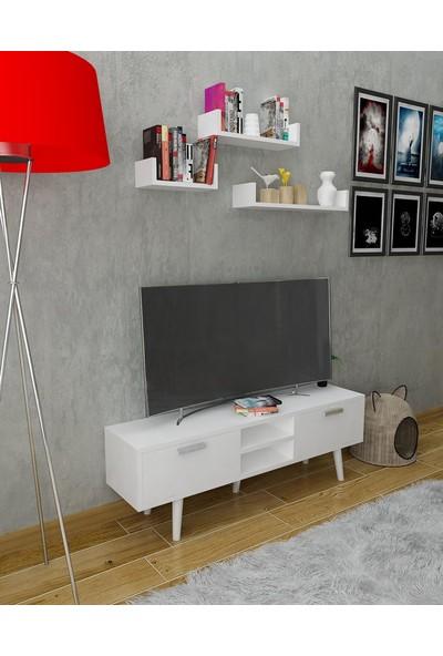 Bayz Televizyon Tv LCD Ünitesi Kapaklı Mobilya Uçan Duvar Rafları Dahil