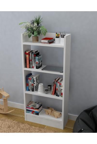 Bayz 4 Raflı Kitaplık - Beyaz Dekoratif Ürün Rafı