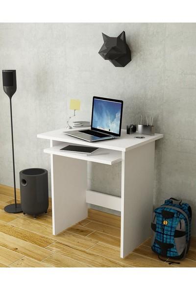 Bayz Beyaz Laptop Bilgisayar Pc Ders Çalışma Masası Hareketli Raylı