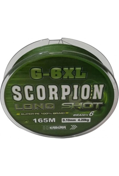 Kabura Scorpion G-6xl Long Shot 0.22MM. %100 Super Pe Braidx6 165MT. Örgü Ip Misina