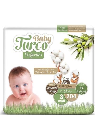 Baby Turco Doğadan 3 Numara Bebek Bezi 5-9 kg Midi 204'LÜ