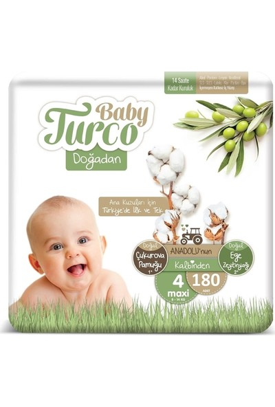 Baby Turco Doğadan 4 Numara Bebek Bezi 8-14 kg Maxi 180 Adet