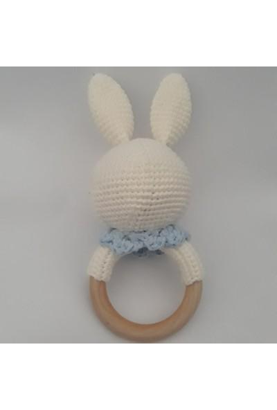 Ebrulisler Amigurumi Çıngıraklı Diş Kaşıyıcı ( Dişlik) Tavşan Mavi