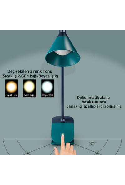 Wlue Şarjlı Dokunmatik Okuma ve Çalışma Işığı LED Masa Lambası 3 Renk Tonu