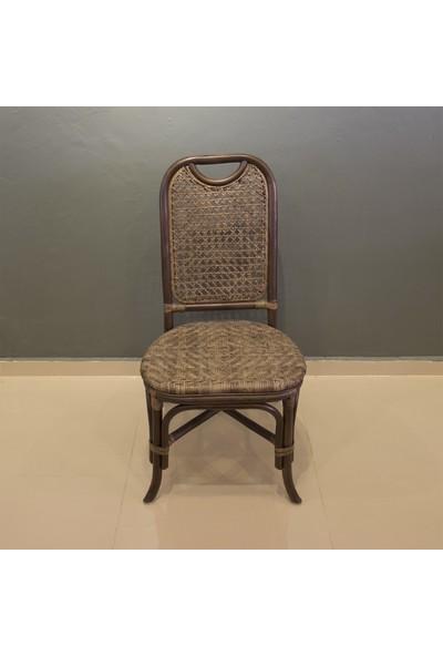 Adalı Bambu Rattan Mutfak Sandalyesi Kahverengi
