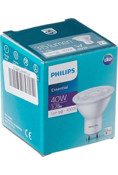 Philips Essential 3.2-40W Kırık Beyaz Işık 4000K GU10 LED Spot Ampul 3 Adet