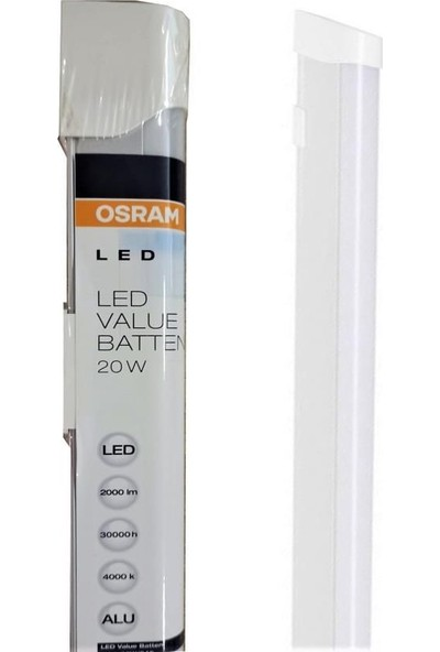 Osram LED Value Batten 20W 4000K Kırık Beyaz Işık LED Bant Armatür + 2mt Arapuarlı Kablo