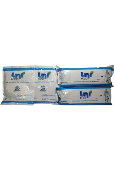 Unimed Saç Yıkama Bonesi 2 Paket + Unimed Perine Bölgesi Yıkama Havlusu 50'li 2 Paket