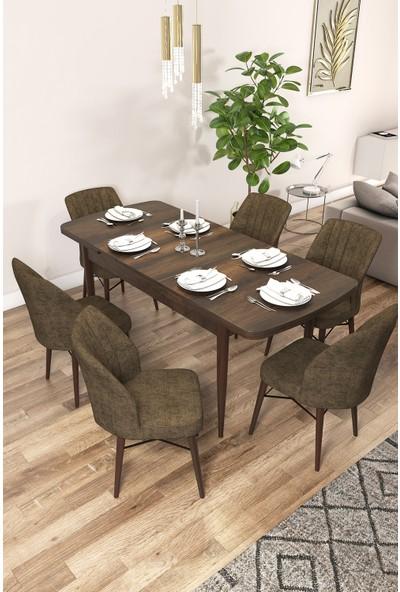 Rovena Arel Serisi Mdf, Barok Ahşap Desenli Açılabilir Mutfak Takımı/barok Masa+6 Adet Sandalye
