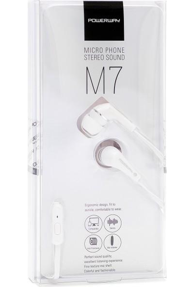 Powerway M7 Mikrofonlu Kulak Içi Silikonlu Kulaklık Beyaz