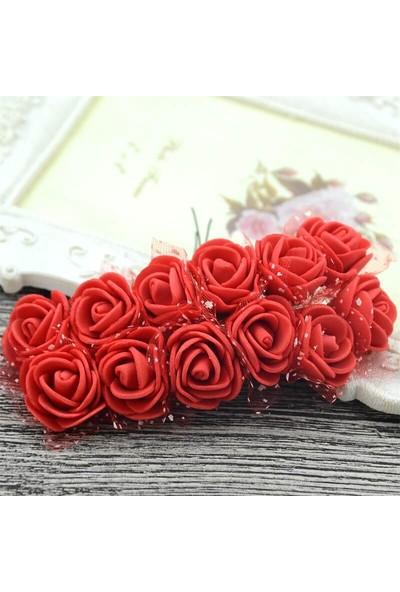 Yapay Çiçek, 12 Adetli Tüllü Lateks Gül, 8 Cm, Kırmızı - 12 Demet