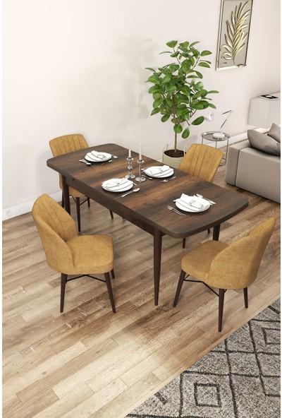 Rovena Arel Serisi Mdf, Barok Ahşap Desenli Açılabilir Mutfak Takımı/barok Masa+4 Adet Sandalye