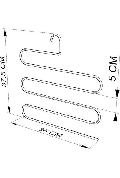 Teknotel Kalın Esneme Yapmaz 3'lü Set Pantolon Askısı Krom EG202