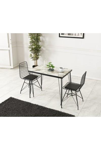 Ressahome Ebrar 2 Kişilik Bendir Mermer Görünümlü Masa Sandalye Takımı 60X90 cm