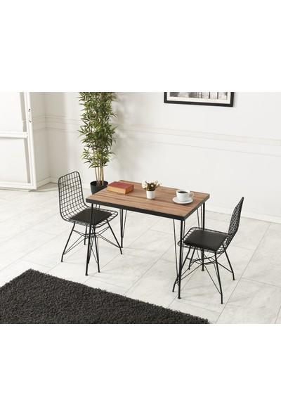 Ressahome Ebrar 2 Kişilik Akça Masa Sandalye Takımı 60X90 cm