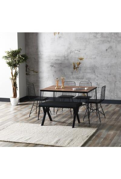 Ressahome Aybüke Akçaağaç Görünümlü Metal Ayaklı Mutfak Masası ve Bench Takımı