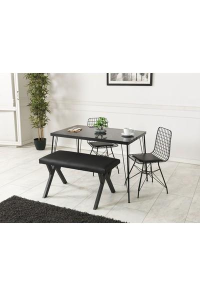 Ressahome Armin Siyah Mermer Görünümlü Metal Ayaklı Mutfak Masası ve Bench Takımı