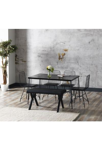 Ressahome Aybüke Siyah Mermer Görünümlü Metal Ayaklı Mutfak Masası ve Bench Takımı