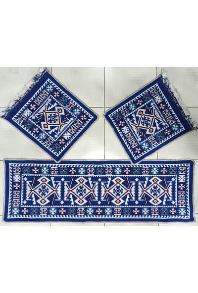 Elmas Oto Koltuk Kilim Seti Mavi Renk - Ön ve Arka Koltuk 3 Parça Takım